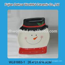 Boneco de neve bonito em forma de placa de cerâmica para decoração de Natal