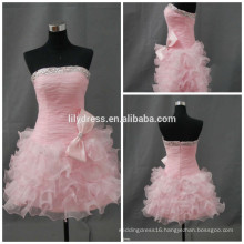 Customized A-Line Beading Boat Neck Boob Tube Top Mini Cocktail Occasion Party Wear CD072 Short Pink Dresses