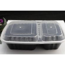 Recipiente de alimento plástico personalizado da microonda do retangular 2-Compartment