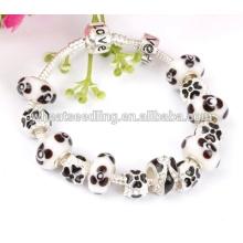 New style white glass European bead charm bracelet