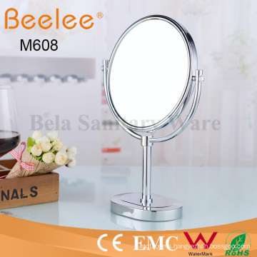 Bathroom Free Standing Brass Round Double Side Makeup Loupe Mirror
