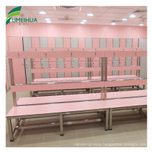 made up of compact laminate bench dressing room