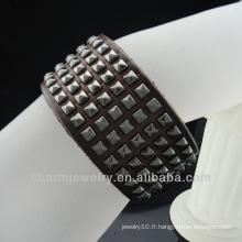 Vente en gros Bracelet classique en cuir rebord pour hommes BGL-015