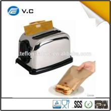Échantillon gratuit Résistant à la température élevée PTFE non collant sac à sandwich sacs toasts 158 * 180 mm