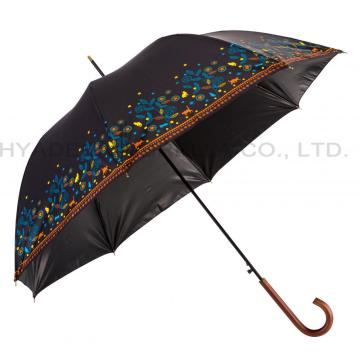 Frauen Flower Print Auto Open Straight Umbrella