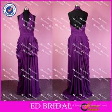 ED Bridal Sexy Halter V Neck Backless Barato Long Ruffle Purple Chiffon Evening Dress 2017