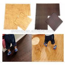 Non-toxic Fun play eva foam wood grain floor mat with edges