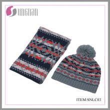 2015 Invierno Moda Niños Acrílico Jacquard Bufanda y Traje de sombrero