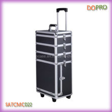 4 in 1 Black Aluminum Trolley Cosmetic Case with Drawers (SATCMC022)
