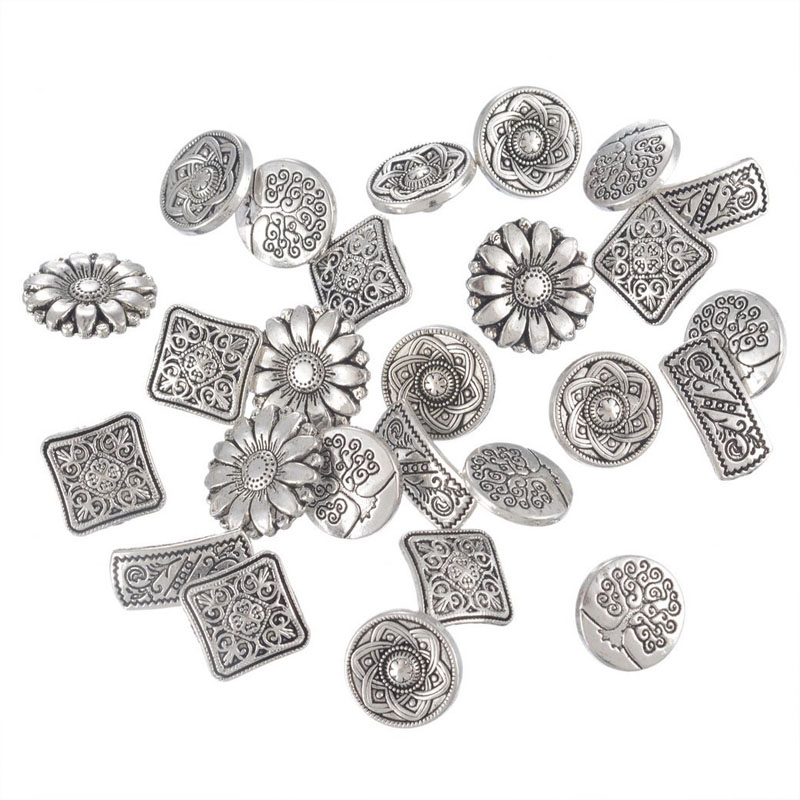 Mixed Silver Flower Buttons