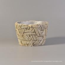 404ml Vintage Archaistic Handmade Woven Pattern Concrete Candle Jar