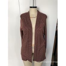 Women's long - sleeved cardigan jacket