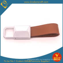 China Fabrik-Preis-Qualitäts-Brown-echtes Leder-Schlüsselkette mit kundengebundenem Logo