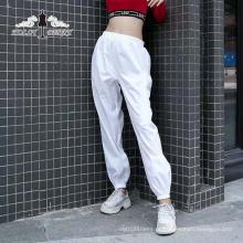 Streetwear Moda Branco Cintura Alta Elástica Calças Soltas de Yoga Mulheres Casuais