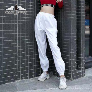 Streetwear Mode Weiß Hochelastische Taille Lose Yogahosen Frauen Lässig