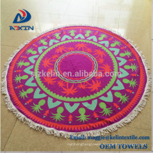 2018 Hot selling 100% microfiber round beach towels with customized logo