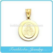Venta caliente de Calidad Superior Chapado en Oro de Acero Inoxidable Santísima Virgen María Dos Capas 14 K Colgante Diseñado para Rosario Collar