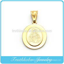 Hot Sell Top Quality Gold Plated Stainless Steel Blessed Virgin Mary Two Layers 14K Pendant Designed for Rosary Necklace