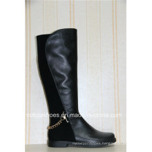 Sexy Fashion Chain Flat Winter Warm Leather Women Boots
