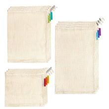 Daploy High Quality Certified organic shopping reusable washable long handle 100% cotton mesh bags