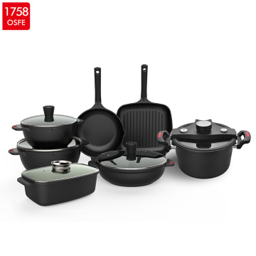 Wholesale 10pcs Homekitchen black non stick cookware set