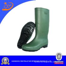 Botas de PVC de inyección alta Fashion Green Knee 66712