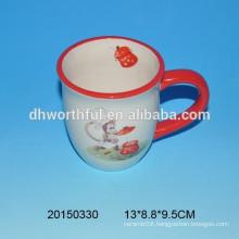 High quality ceramic coffee mugs with monkey decal printing