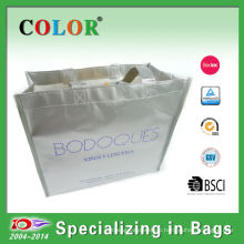 pp non woven colors envelop bag with silver print,matt laminated