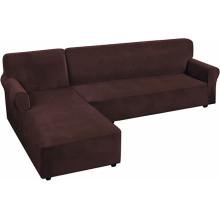 Capa de sofá secional elástica de veludo em forma de L para sofá de 4 lugares Capas extensíveis de lã para sofá