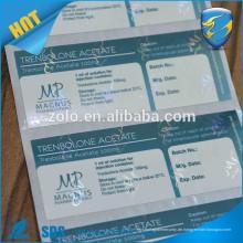 Hochwertige benutzerdefinierte Druck pharmazeutischen Etikett Verpackung Vial Label Wein Flasche Etikett