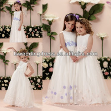 HF2011 Fashion Feather Jewel Neck Crystal Beaded Sleeveless White Floor-Length Sweep Train Tulle Gril Party Dress Girl Dresses