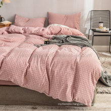 Made in China Home Textile 3 PCS Single Bed Modern Style Cotton Bed Sheet Pink Plaid