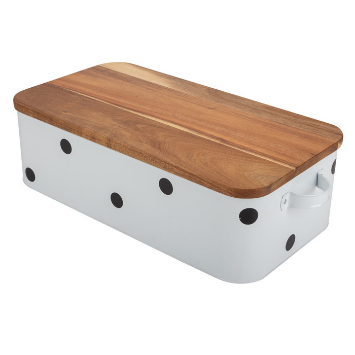 Bamboo Lid White Bread Box