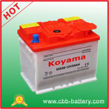 12V 55ah DIN55 Dry Charged Auto Battery for Europer Car 55559