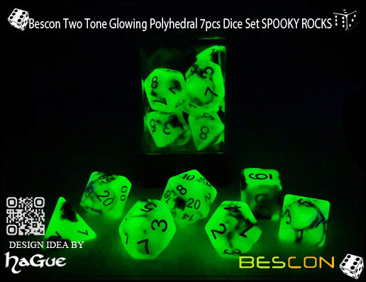Bescon Two Tone Glowing Polyhedral 7pcs Dice Set SPOOKY ROCKS-7