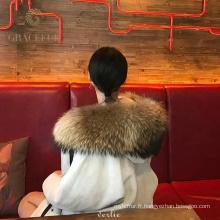 Manteau en fourrure véritable animal le plus populaire pour les femmes avec doublure de raton laveur
