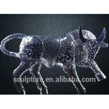 2016 New Fine Art Stainless Steel Sculpture Hollow Cattle