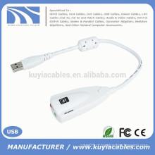 3.5mm fone de ouvido fone de ouvido 7.1 canais USB cabo de placa de som 3D adaptador