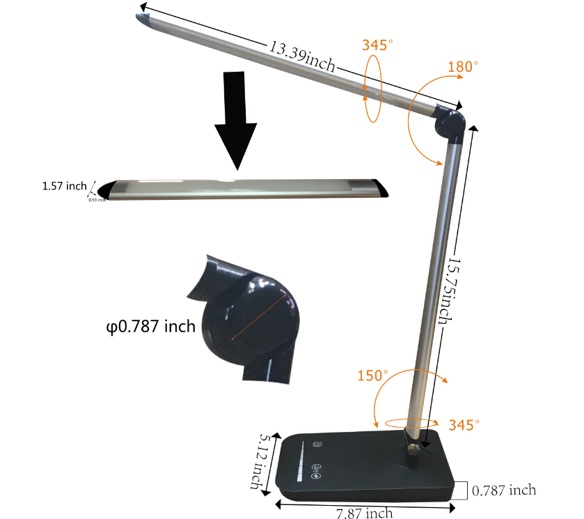 folding dimmable desk lamp