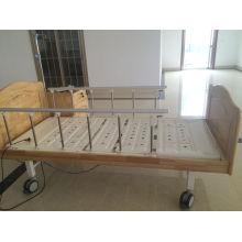 Cama de hospital elétrico de dupla função com cabeça de cama de madeira