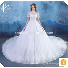 Robe de Mariage 2016 Luxus Perlen Perlen Sexy Elfenbein Spitze Ballkleid Brautkleider mit langen Schwanz
