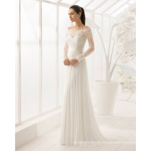 Long Sleeve Lace A Line Evening Dress Bridal Gown Wedding Dress (RS022)