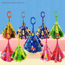 C-Shaped Handle Double Layer Polyester Kid Invert Reverse Umbrella with Pring Pattern