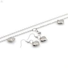 Neues Design Edelstahl Halskette Herz Ohrring Schmuck-Set