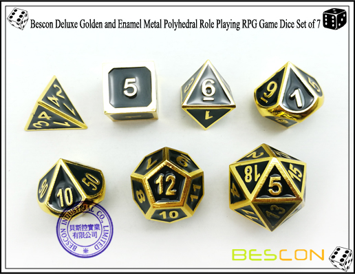 Bescon New Style Deluxe Golden and Enamel Solid Metal Polyhedral Role Playing RPG Game Dice Set (7 Die in Pack)-4