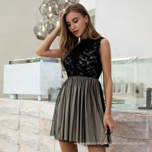 Weixin Shein Fashion Sexy Black Chiffon Lace Layered Transparent Sleeveless Ruched Detail Skater Casual Party Dress