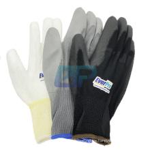 EN388 4131 White Black Palm Coated Nylon PU Gloves Polyurethane Palm Fit Safety Glove Work Gloves