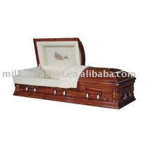 Cercueil de placage de cèdre avec broderie
