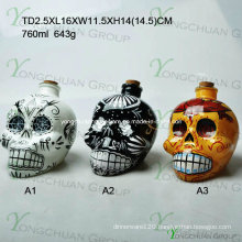 Skull Heads Glass Dropper Bottle with Childproof Cap and Sharp Dropper with Cork