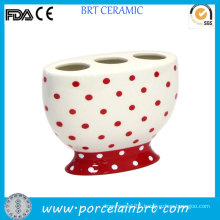 Red Dotted Decorative Toothbrush Holder